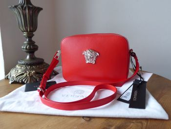 Versace Rockerfeller Camera Bag in Bright Red Vitello Calfskin with Shiny Silver Hardware - New*