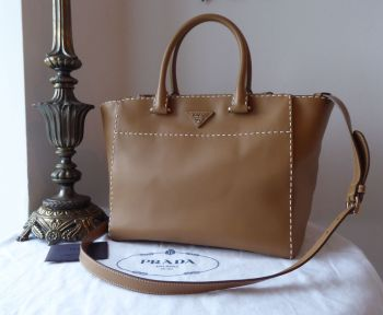 Prada City Calf Double Zip Executive Tote in Hand Stitched Caramel Calfskin