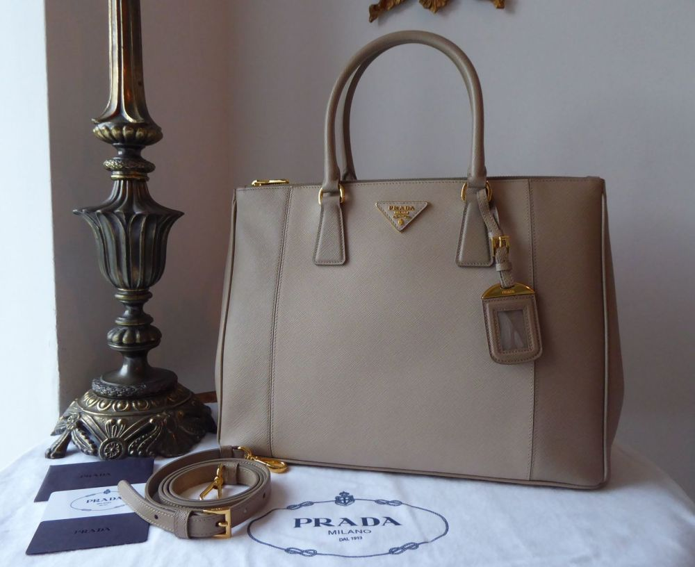 Prada Large Galleria Double Zip Tote in Visone Quarzo Bicolore Saffiano Lux