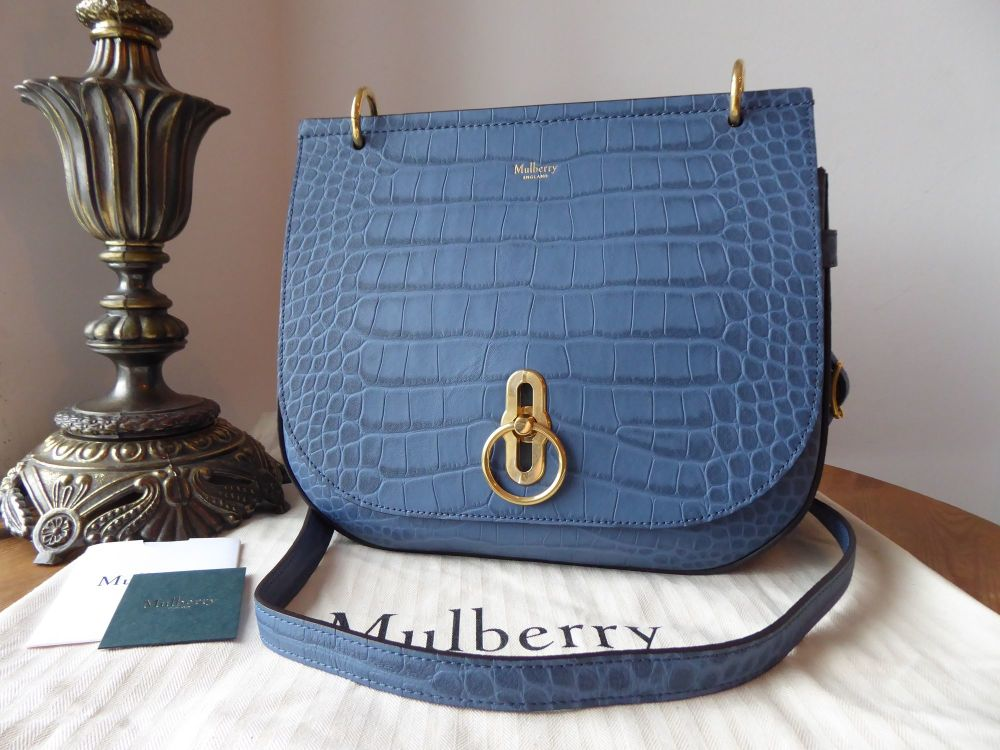 Mulberry Amberley Satchel in Pale Navy Matte Croc Printed Leather - New