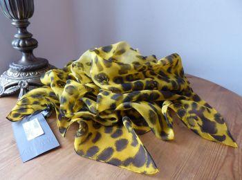 Alexander McQueen Leopard Skull Square Scarf in Ochre Gold Animalia Printed Silk Chiffon - New
