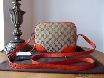 Gucci Bree Camera Bag in Original GG Canvas with Seville Orange Trims