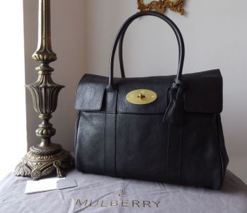 Mulberry Classic Heritage Bayswater in Black Natural Leather with Felt Liner