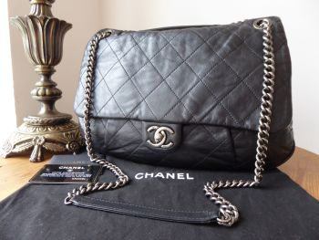 Chanel Coco Pleats Soft Flap Hobo in Black Aged Calfskin with Ruthenium Hardware