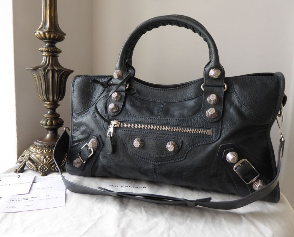 Balenciaga Part Time in Anthracite Lambskin with Giant 21 Silvertone Hardwa