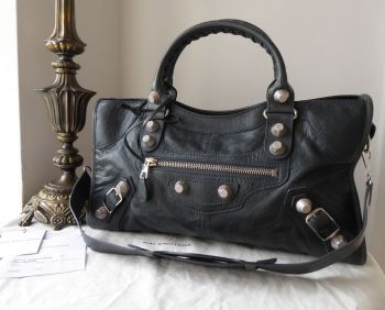 Balenciaga Part Time in Anthracite Lambskin with Giant 21 Silvertone Hardware
