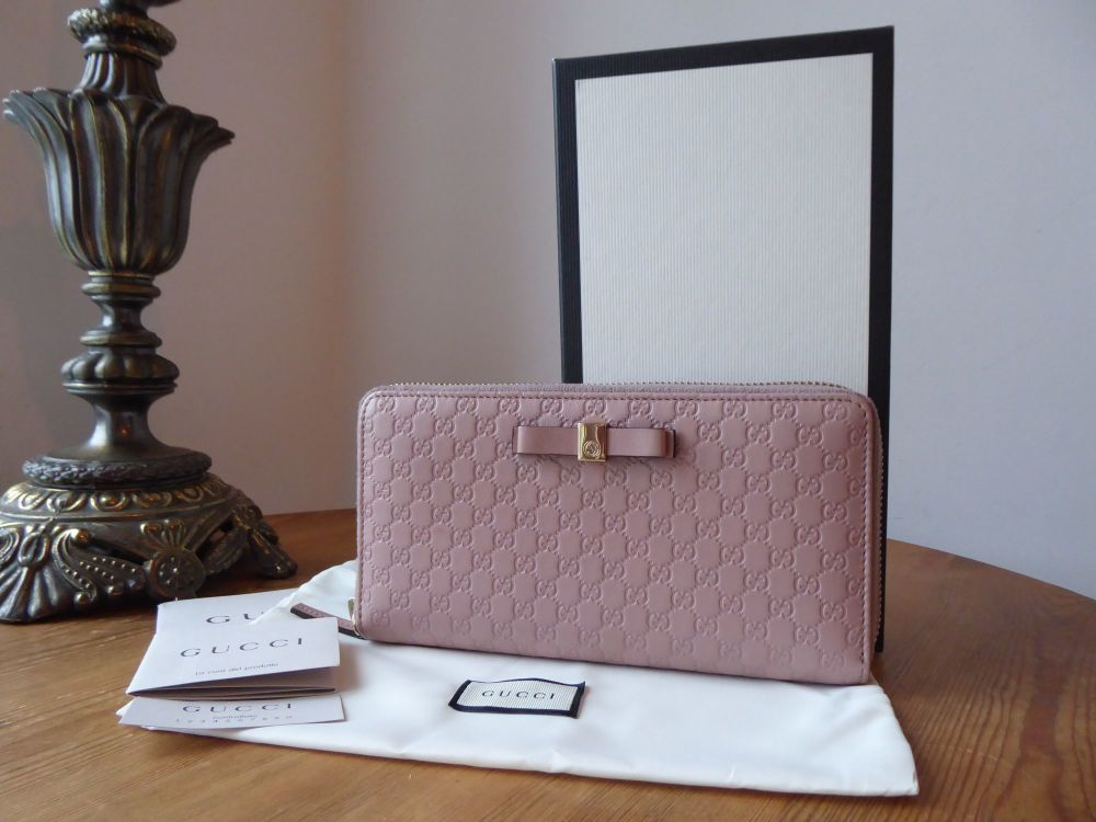 Gucci Bow Zip Around Continental Purse Wallet in Dusky Rose Pink Micro GG G