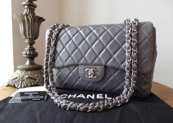 Chanel Classic Jumbo Single Flap in Steel Grey Shiny Lambskin with Silver Hardware