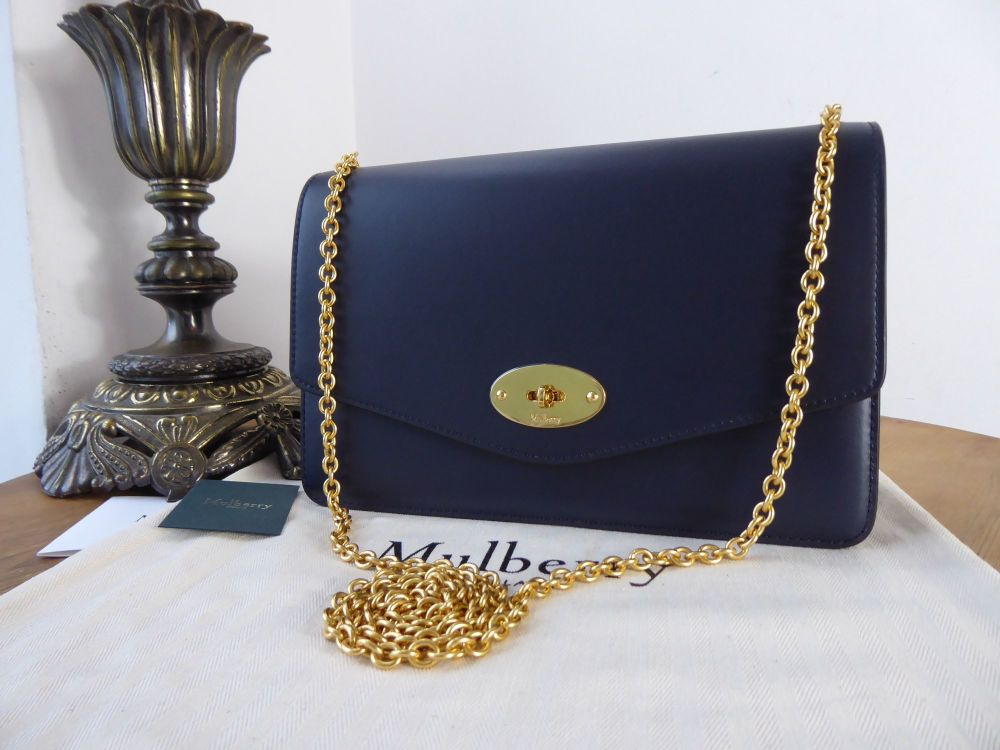 Mulberry Medium Darley in Midnight Blue Smooth Calf Leather New