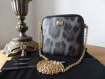 Dolce & Gabanna Square Mini Messenger in Vitello Stampa Dauphine Leopard Printed Leather