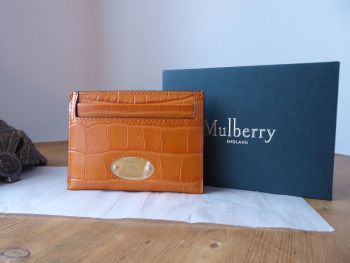 Mulberry Plaque Card Slip Holder in Autumn Gold Croc Printed Calfskin - New