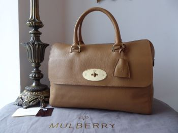 Mulberry Del Rey in Deer Brown Grainy Print Leather with Shiny Gold Hardware