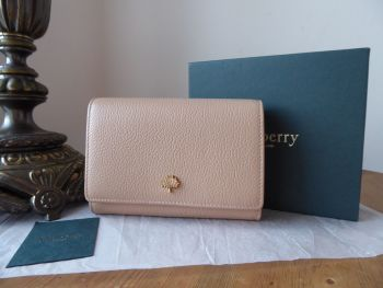 Mulberry Tree French Purse Wallet in Rosewater Small Classic Grain with Gold Hardware - New