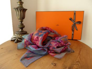 Hermés Silk Chiffon Mousseline Carre Scarf 'Chevaux De Karnak'   in Fuchsia / Jaune / Orange / Canard