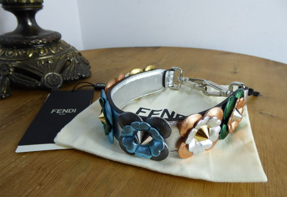 Fendi Strap You Mini Top Handle Metallic Floral Appliqué