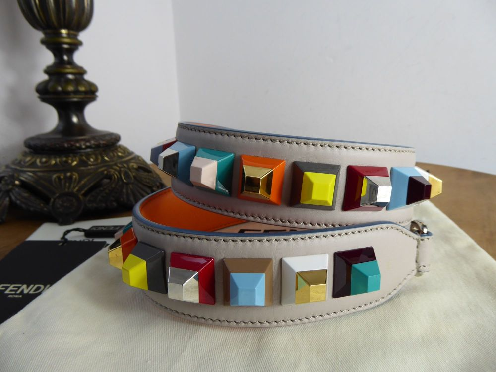 Fendi Strap You Cube Stud Long Shoulder Strap in Grey Powder & Multicoloure