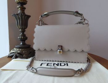 Fendi Medium Kan I Scalloped Flap Shoulder Bag in Grey Powder Calfskin