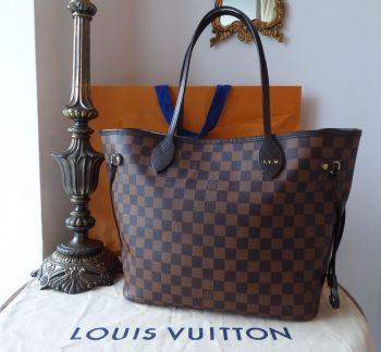 Louis Vuitton Neverfull MM in Damier Ebene with Heatstamped Initials