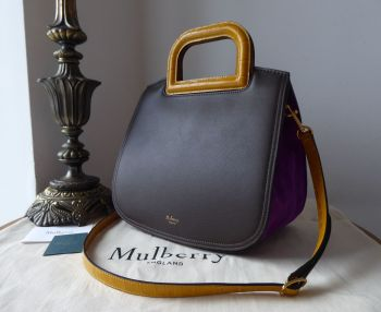 Mulberry Brimley in Chocolate Silky Calf, Gold Ochre Croc Print & Dark Violet Suede - New
