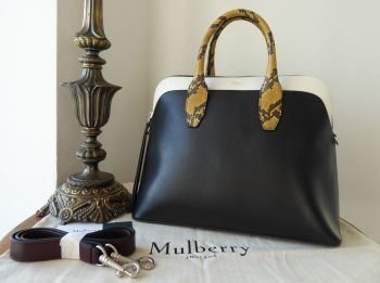 Mulberry Colville in Black & White Smooth Calf with Ayers Snakeskin Trim -New