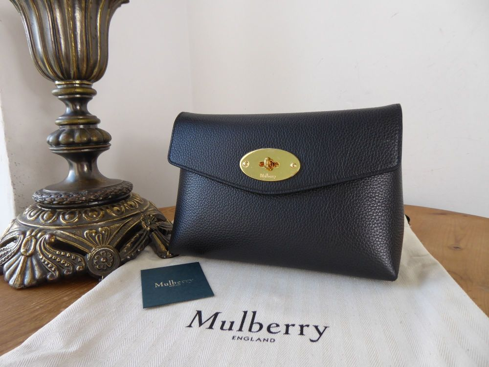 Mulberry Darley Cosmetic Pouch in Black Small Classic Grain- New