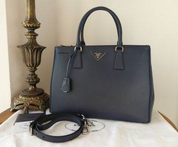 Prada Medium Galleria Double Zip Tote in Baltico Navy Blue Saffiano Lux