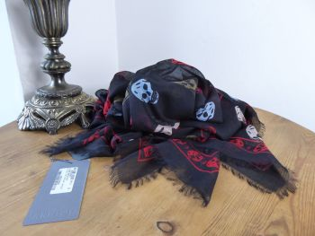 Alexander McQueen Skull Scarf in Black Multicolour Skulls Silk Modal Mix - New