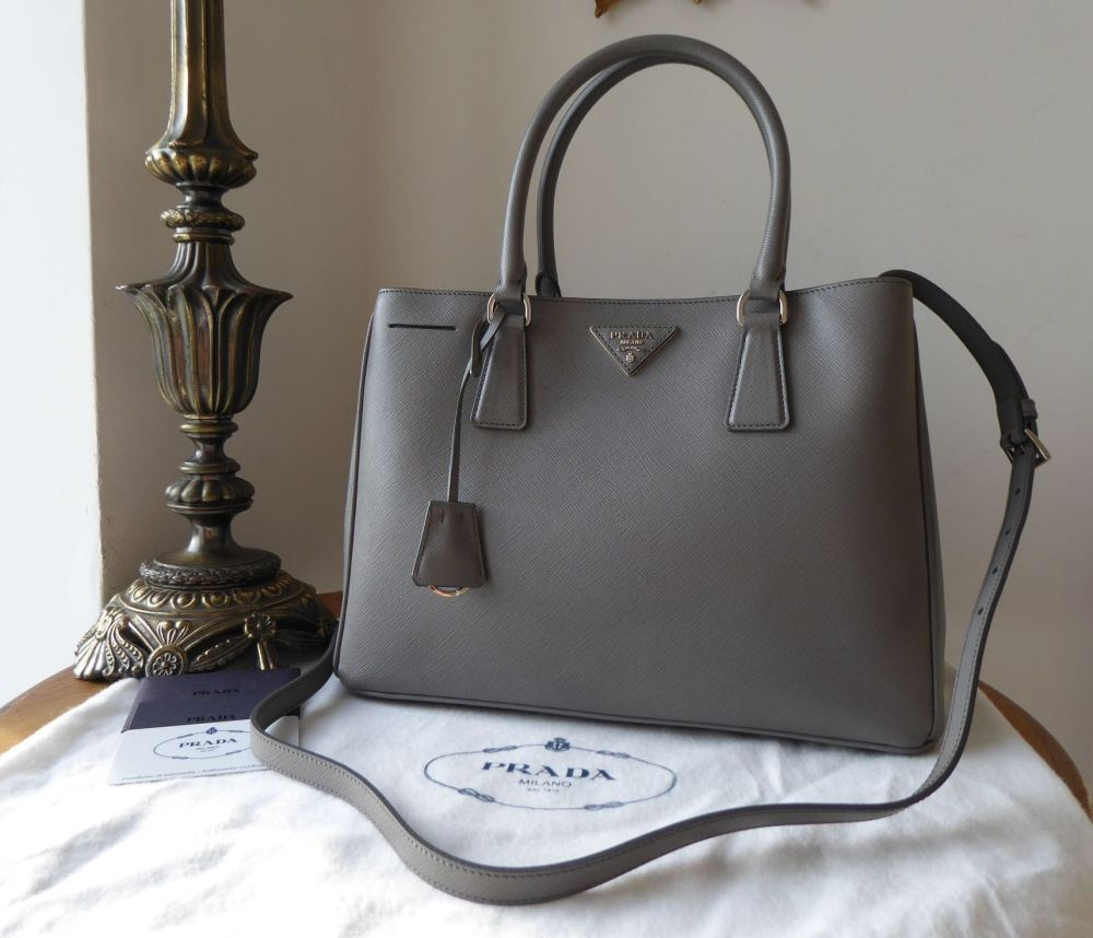 Prada Medium Galleria Double Zip Tote in Marmo Grey  Saffiano Lux  - New*
