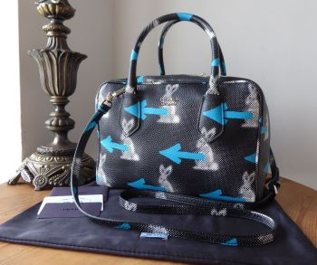 Prada St.Rabbit Double Zip Bauletto 'Inside Bag'  Boston in Nero Azzurro Diano Calfskin - New