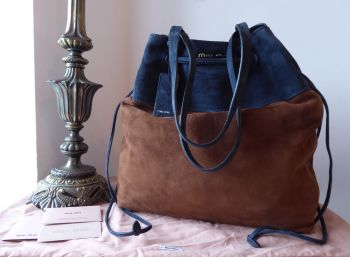 Miu Miu Large Drawstring Bucket Bag Tote in Chocolate and Navy Suede Camoscio