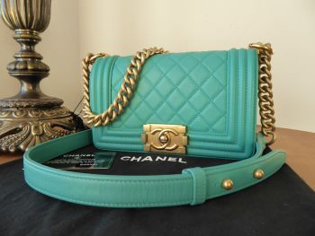Chanel Small Boy Quilted Flap in Tiffany Aqua Lambskin with Antiqued Champagne Gold Hardware