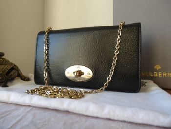 Mulberry Bayswater Shoulder Clutch Wallet on Chain in Black Soft Spongy Leather