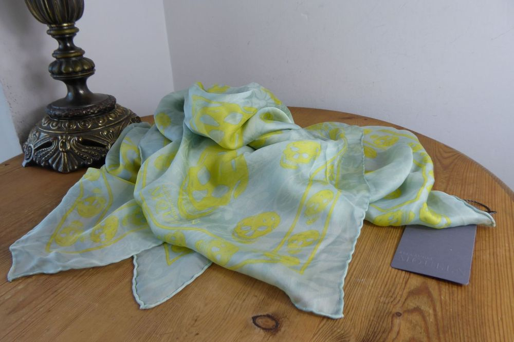 Alexander McQueen Paisley Overprinted Peppermint & Lemon Skull Scarf in Sil