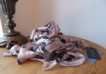 Alexander McQueen Skull Scarf in Rosewater Taupe 100% Silk Chiffon - As New*