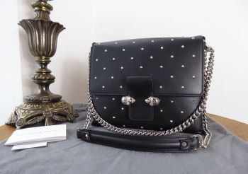 Alexander McQueen Twin Skull Studded Shoulder Bag in Black Calfskin - New*