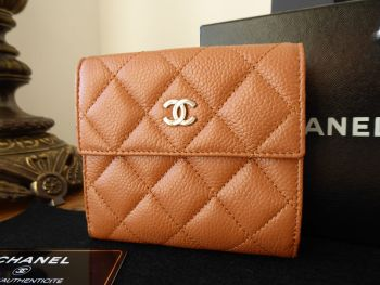 Chanel Classic Bifold Flap Wallet in Marron Clair Light Brown Caviar