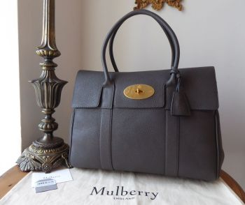 Mulberry Classic Heritage Bayswater in Dark Grey Small Classic Grain Leather - New*