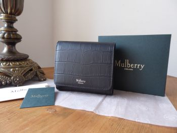 Mulberry Small Continental French Purse in Black Matte Croc - New*