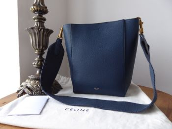 Céline Sangle Small Bucket Bag in Abyss Blue Soft Grained Calfskin