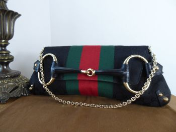 Gucci Tom Ford Limited Edition Horsebit Saddle Flap Shoulder Clutch in Black GG Monogram