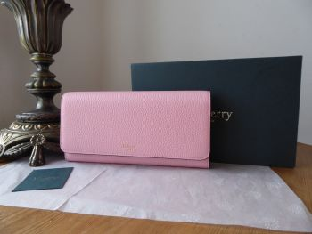 Mulberry Continental Long Purse Flap Wallet in Sorbet Pink Small Classic Grain - New*