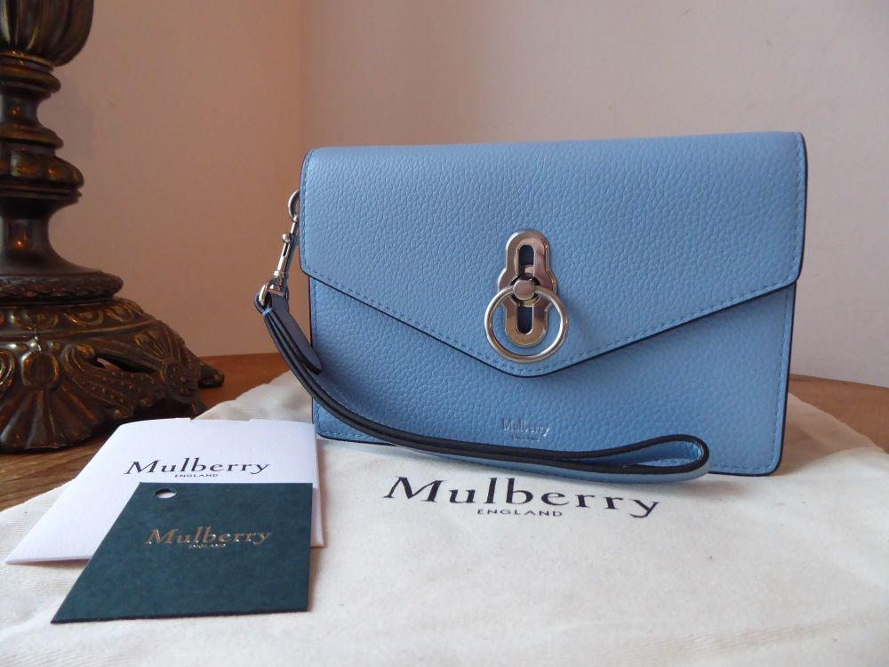 Mulberry Amberley iPhone Wristlet Clutch in Pale Slate Small Classic Grain