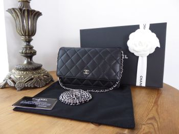 Chanel Classic Wallet on Chain WoC in Black Lambskin with Shiny Silver Hardware