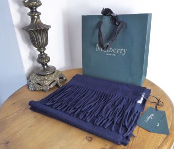 Mulberry Classic Fringed Winter Scarf in Navy 100% Cashmere - New