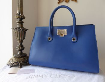 Jimmy Choo Riley Tote in Persian Blue Smooth Calf & Suede with Shiny Silver Hardware