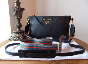 Prada Slim Zipped Shoulder Bag in Vitello Daino Nero