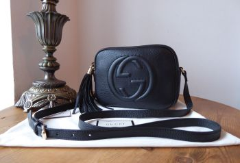 Gucci Soho Disco Crossbody Shoulder Bag in Pebbled Black Calfskin