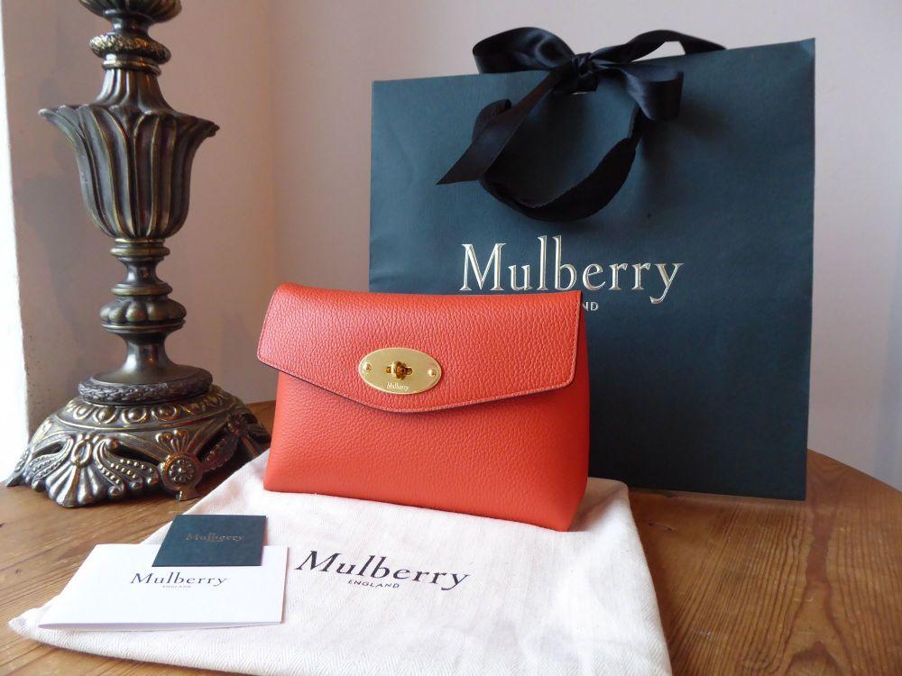 Mulberry Darley Cosmetic Pouch in Tangerine Orange Small Classic Grain - Ne
