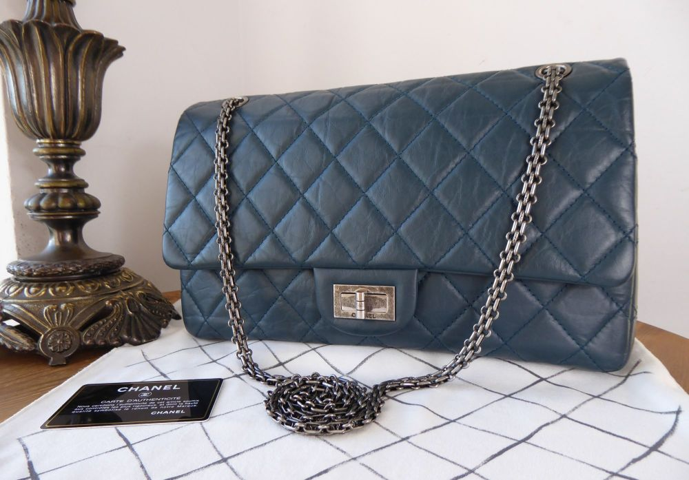 Chanel Reissue 227 Maxi Flap in Teal Blue Aged Calfskin with Ruthenium Hard