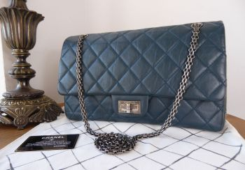 Chanel Reissue 227 Maxi Flap in Marine Blue Aged Calfskin with Ruthenium Hardware
